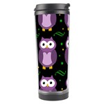 Halloween purple owls pattern Travel Tumbler Left