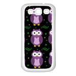 Halloween purple owls pattern Samsung Galaxy S3 Back Case (White) Front