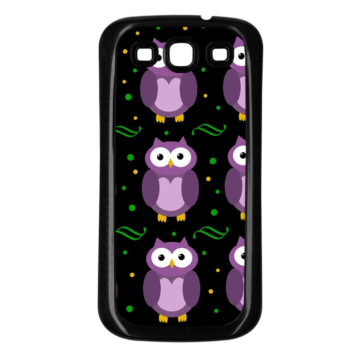 Halloween purple owls pattern Samsung Galaxy S3 Back Case (Black)