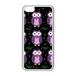 Halloween purple owls pattern Apple iPhone 5C Seamless Case (White) Front