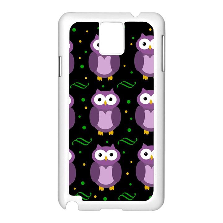 Halloween purple owls pattern Samsung Galaxy Note 3 N9005 Case (White)