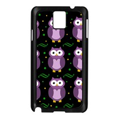 Halloween Purple Owls Pattern Samsung Galaxy Note 3 N9005 Case (black)