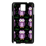 Halloween purple owls pattern Samsung Galaxy Note 3 N9005 Case (Black) Front