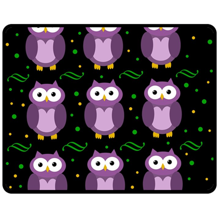 Halloween purple owls pattern Double Sided Fleece Blanket (Medium)