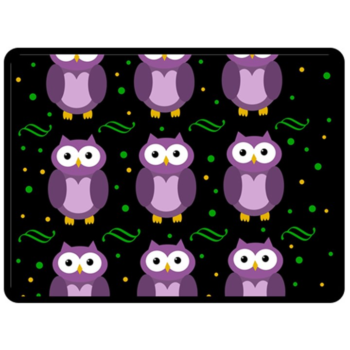 Halloween purple owls pattern Double Sided Fleece Blanket (Large)