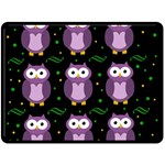 Halloween purple owls pattern Double Sided Fleece Blanket (Large)  80 x60 Blanket Back
