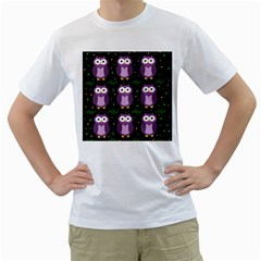 Halloween purple owls pattern Men s T-Shirt (White)