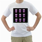 Halloween purple owls pattern Men s T-Shirt (White)  Front