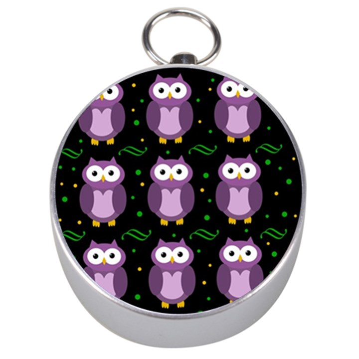 Halloween purple owls pattern Silver Compasses