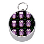 Halloween purple owls pattern Mini Silver Compasses Front