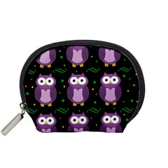 Halloween purple owls pattern Accessory Pouches (Small)