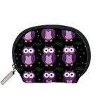 Halloween purple owls pattern Accessory Pouches (Small)  Front