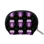 Halloween purple owls pattern Accessory Pouches (Small)  Back