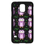 Halloween purple owls pattern Samsung Galaxy S5 Case (Black) Front