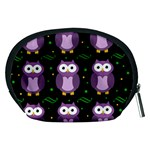 Halloween purple owls pattern Accessory Pouches (Medium)  Back