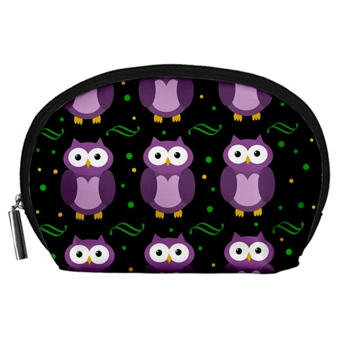 Halloween purple owls pattern Accessory Pouches (Large)