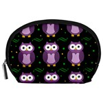 Halloween purple owls pattern Accessory Pouches (Large)  Front