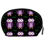 Halloween purple owls pattern Accessory Pouches (Large)  Back