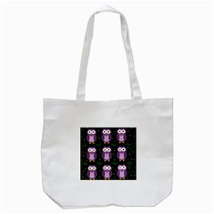 Halloween purple owls pattern Tote Bag (White)
