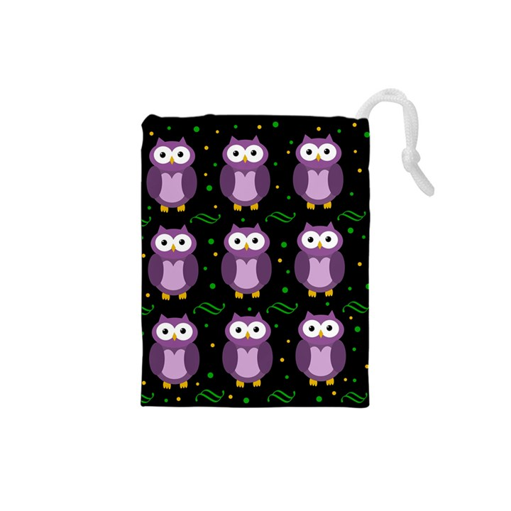 Halloween purple owls pattern Drawstring Pouches (Small)