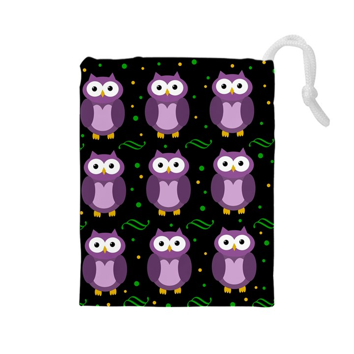 Halloween purple owls pattern Drawstring Pouches (Large)