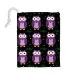 Halloween purple owls pattern Drawstring Pouches (Large)  Back