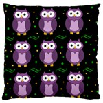 Halloween purple owls pattern Large Flano Cushion Case (Two Sides) Front