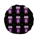 Halloween purple owls pattern Standard 15  Premium Flano Round Cushions Back