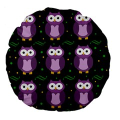 Halloween Purple Owls Pattern Large 18  Premium Flano Round Cushions