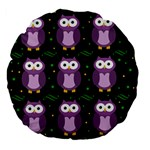 Halloween purple owls pattern Large 18  Premium Flano Round Cushions Back