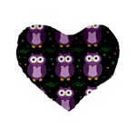 Halloween purple owls pattern Standard 16  Premium Flano Heart Shape Cushions Front