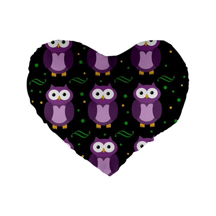 Halloween purple owls pattern Standard 16  Premium Flano Heart Shape Cushions