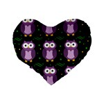 Halloween purple owls pattern Standard 16  Premium Flano Heart Shape Cushions Back