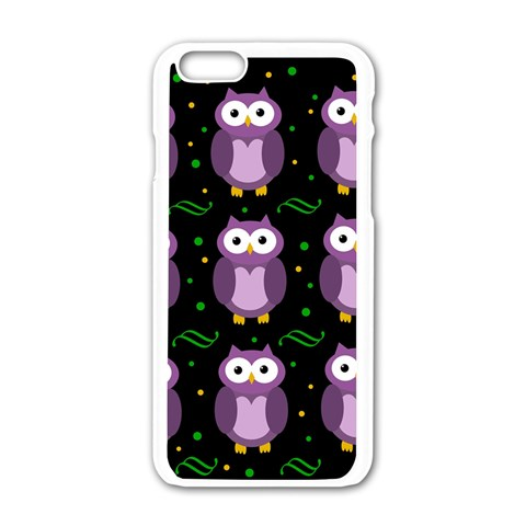 Halloween purple owls pattern Apple iPhone 6/6S White Enamel Case
