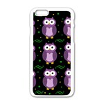 Halloween purple owls pattern Apple iPhone 6/6S White Enamel Case Front