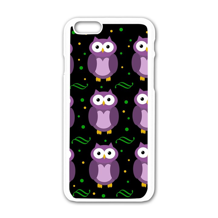 Halloween purple owls pattern Apple iPhone 6/6S White Enamel Case
