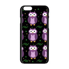 Halloween purple owls pattern Apple iPhone 6/6S Black Enamel Case