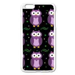 Halloween purple owls pattern Apple iPhone 6 Plus/6S Plus Enamel White Case