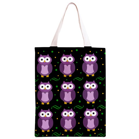 Halloween purple owls pattern Classic Light Tote Bag