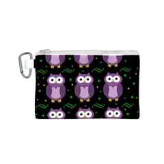 Halloween purple owls pattern Canvas Cosmetic Bag (S)