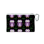 Halloween purple owls pattern Canvas Cosmetic Bag (S) Back