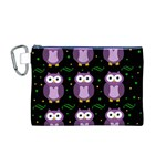 Halloween purple owls pattern Canvas Cosmetic Bag (M) Front