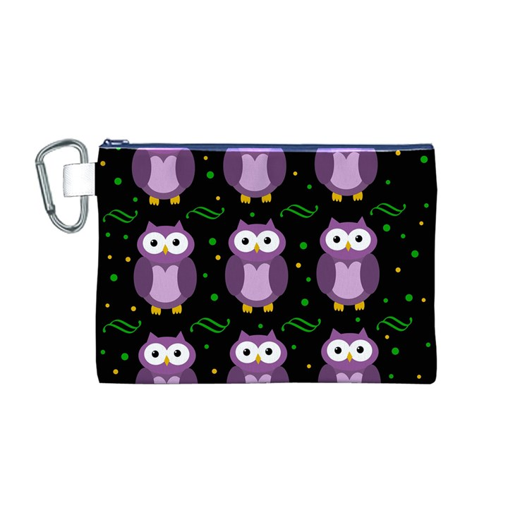 Halloween purple owls pattern Canvas Cosmetic Bag (M)