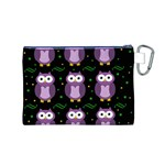 Halloween purple owls pattern Canvas Cosmetic Bag (M) Back