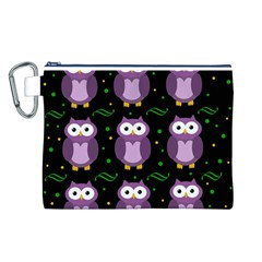 Halloween purple owls pattern Canvas Cosmetic Bag (L)