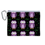 Halloween purple owls pattern Canvas Cosmetic Bag (L) Front