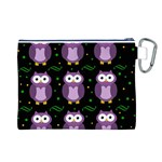 Halloween purple owls pattern Canvas Cosmetic Bag (L) Back