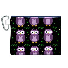 Halloween purple owls pattern Canvas Cosmetic Bag (XL)