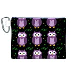 Halloween purple owls pattern Canvas Cosmetic Bag (XL) Front