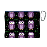 Halloween purple owls pattern Canvas Cosmetic Bag (XL) Back